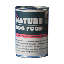 Nature Dog Food blikvoeding hert, rendier, wortel & cranberry 400 gr