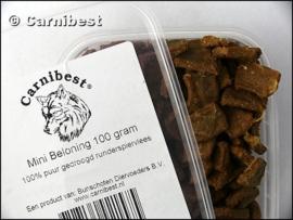Carnibest Mini beloning 100 gr/doosje (100% gedroogd runderspiervlees)