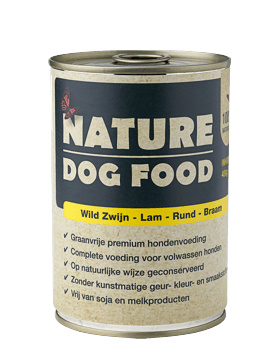 Nature Dog Food blikvoeding wild zwijn, lam, rund & bramen 400 gr