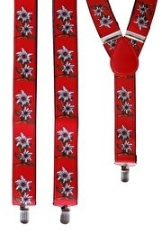 Bretels Tiroler edelweiss rood