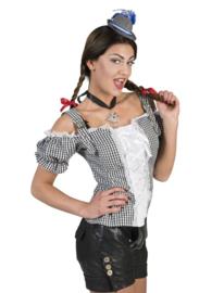 Tiroler blouse dames zwart wit