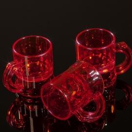 Shotglaasjes 2,5cl. transparant rood 10 stuks