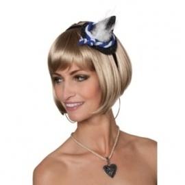 Tiara mini Oktoberfest hoedje blauw/wit