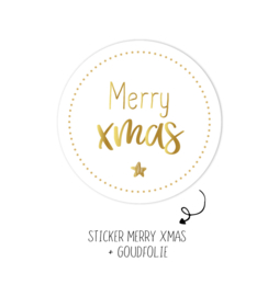Sticker | Merry xmas |  wit | 10 stuks
