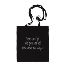 Katoenen tas | Chocola en wijn | Zwart