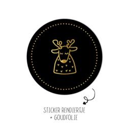 Sticker | Rendiertje | zwart | 10 stuks