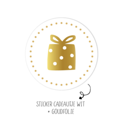Sticker | Present Wit Dots | 10 stuks