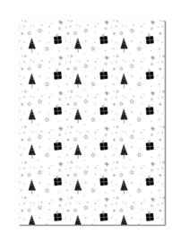Inpakpapier | Boompjes en cadeautjes kleur | 70 x 50 cm