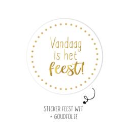 Rol stickers | Vandaag is het feest wit