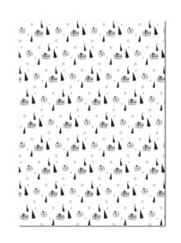 Inpakpapier | Boompjes en pakjes | 70 x 50 cm