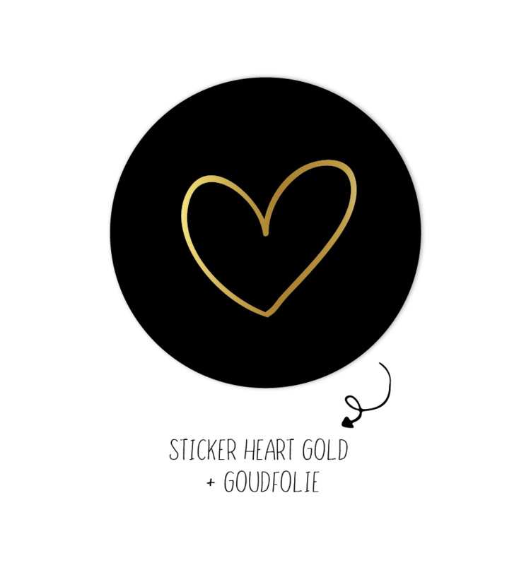 Sticker | Heart Gold | 10 stuks