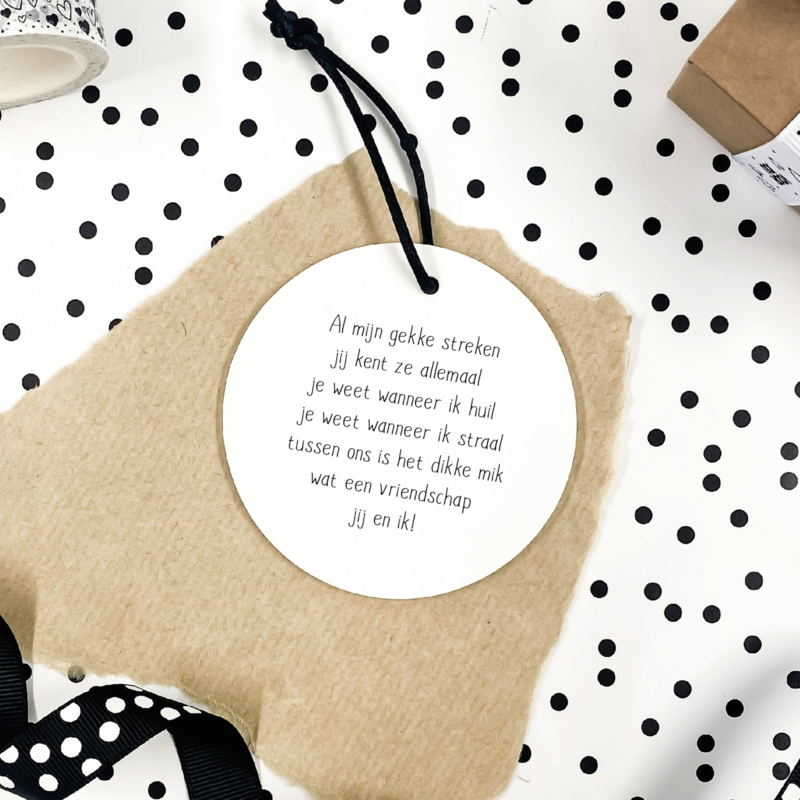 Mini roundie hanger   Vriendschapsgedichtje