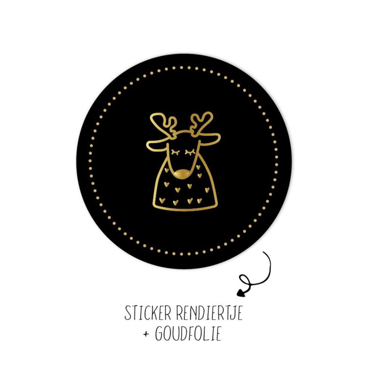 Sticker   Rendiertje   zwart   10 stuks