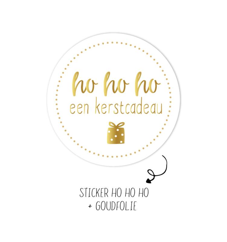 Sticker | ho ho ho een kerstcadeau | wit| 10 stuks