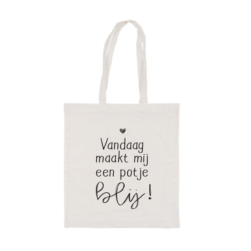 Katoenen tas | Vandaag maakt mij blij | Beige