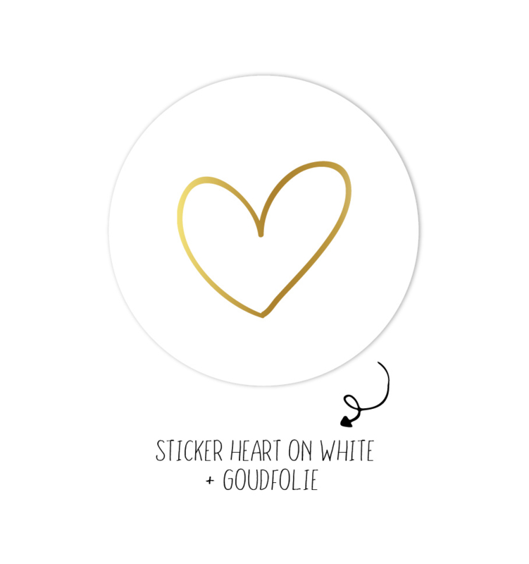 Sticker | Heart on white  | 10 stuks