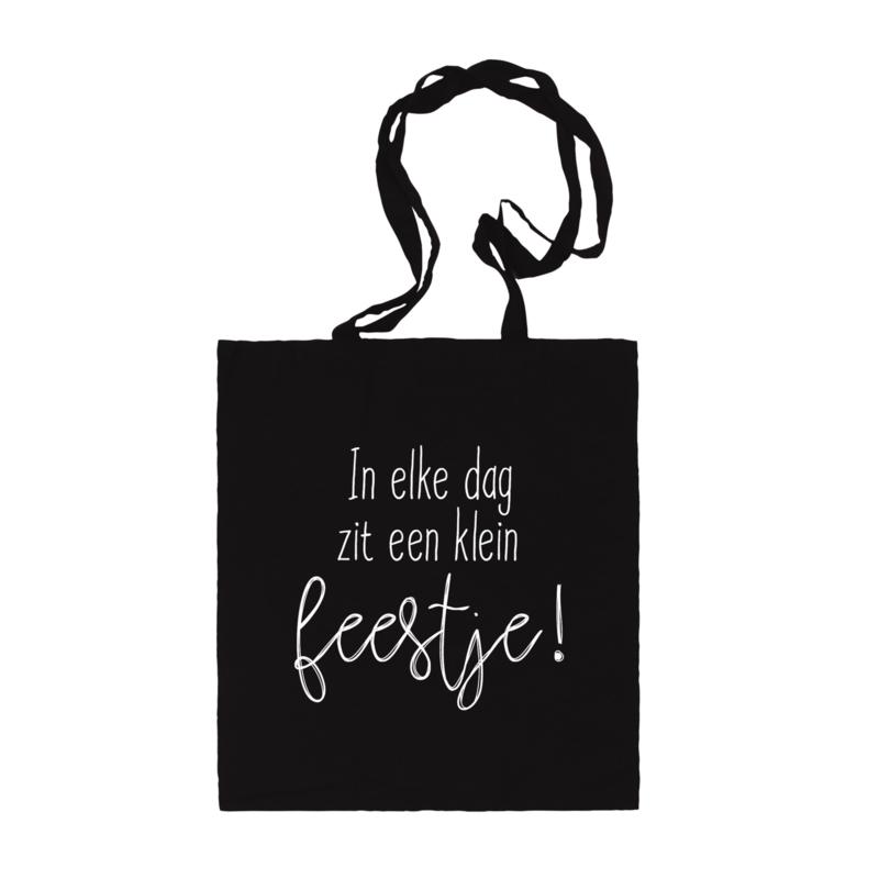 Katoenen tas   In elke dag zit een klein feestje   Zwart