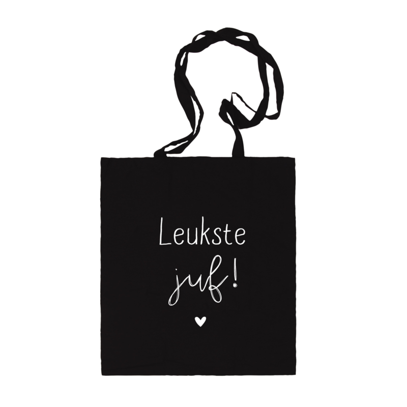 Katoenen tas | Leukste juf | Zwart