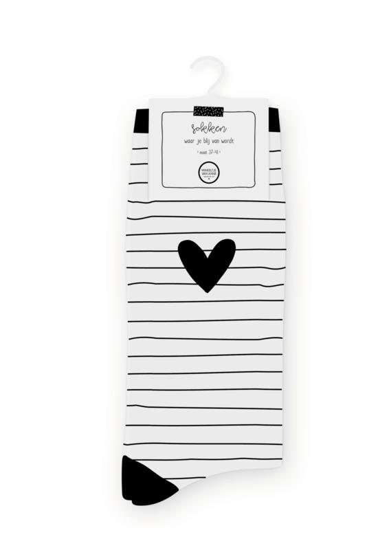 Sokken | Striped heart white| Maat 37-41