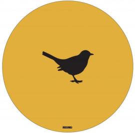 Muurcirkel 30 cm | Vogel mosterdgeel