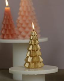 Rustik Lys Kerstboom kaars  | klein goud