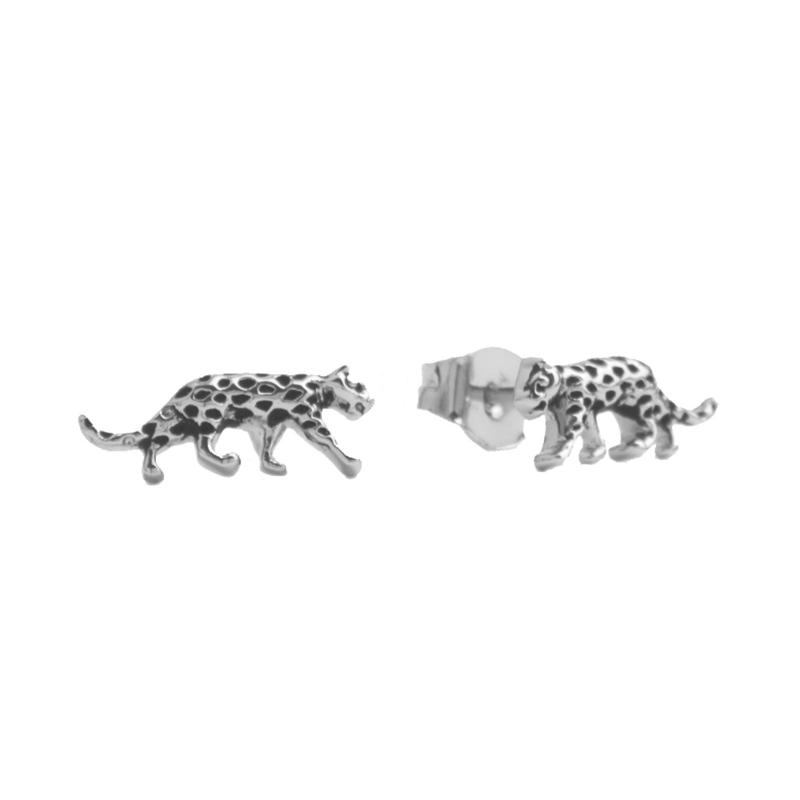 Oorbellen leopard zilver | ATLITW