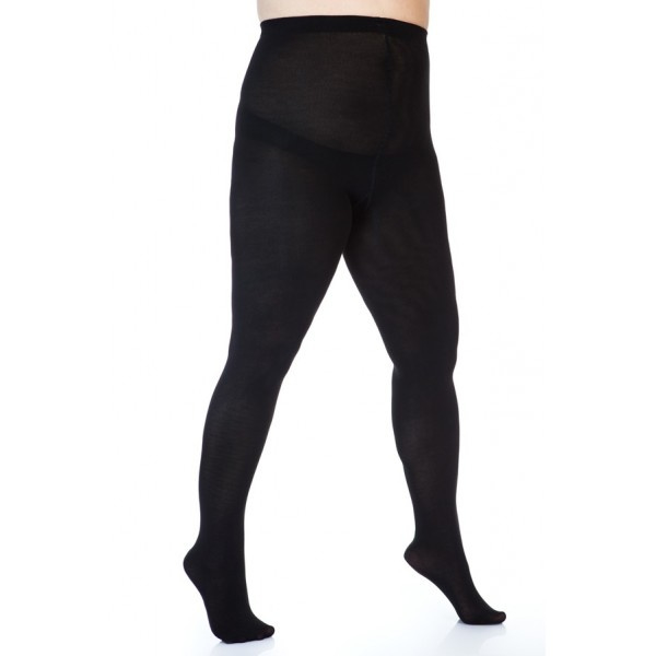 Zwarte 300 denier bamboe panty , size+ (42-50), in lengtematen
