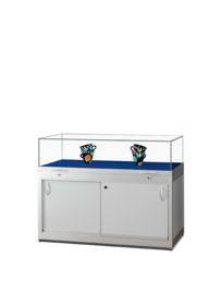 Table showcase TGV 1000 silver with gas springs and storage