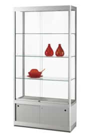 Glass display cabinet GPC 1200 silver with storage