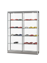 Glass display cabinet GPC 1500 silver with LED top lights