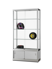 Glass display cabinet  WME 1000 silver with storage