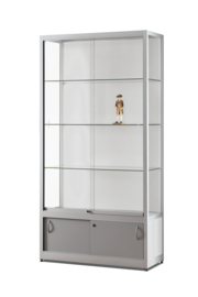 Glass display cabinet 311 1000 silver with storage and LED strips