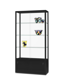 Glass display cabinet  WME 1000 black with storage