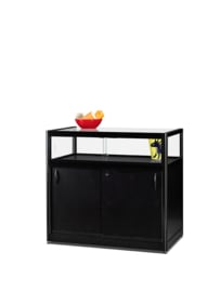 Table showcase 1000 black with storage