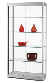 Glass display cabinet GPC 1000 silver with LED top lights