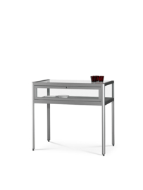 Dustproof table showcase 1000 silver with legs