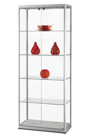 Glass display cabinet MPC 800 silver with doors in front