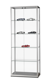 Glass display cabinet  WMS 800 silver with doors on the frontside
