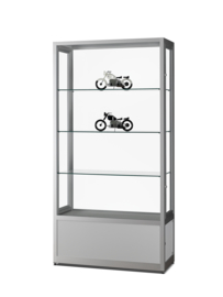 Dustproof display case V8 1000 silver with storage without lighting