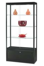 Glass display cabinet GPC 1000 black with storage