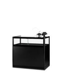 Table showcase 1000 black with plinth