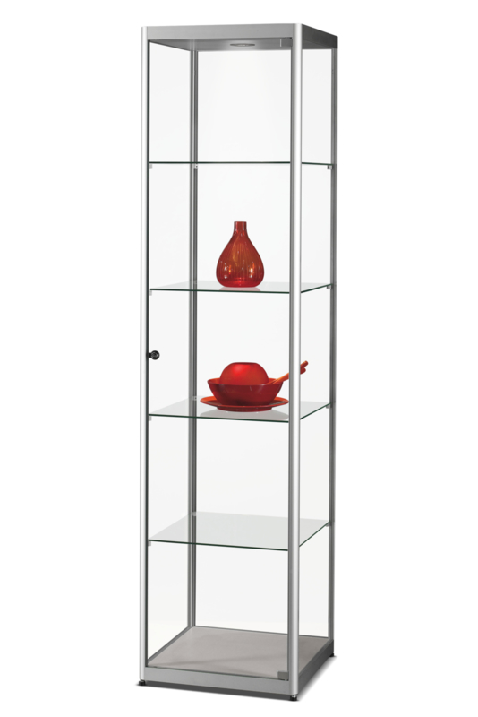 Glass display cabinet MPC 500 silver with LED top light