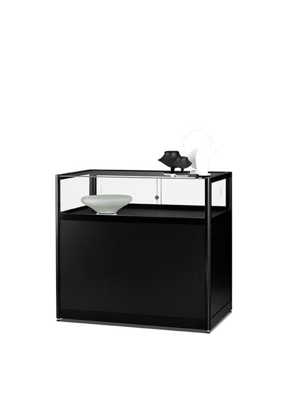 Table showcase 1000 black with plinth