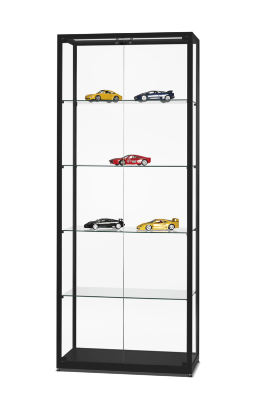 Glass display cabinet  WMS 800 black with doors to the front