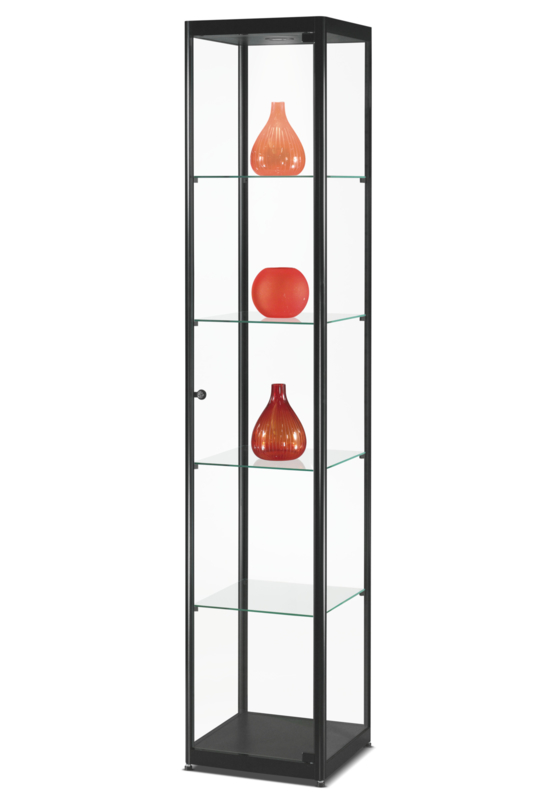 Glass display cabinet MPC 400 black with LED top light