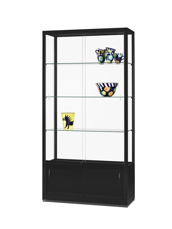 Vitrinekast Vitrine Glazen Kast 1000 Zwart Onderkast Extra