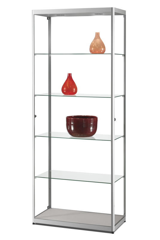 Glass display cabinet MPC 800 silver with LED toplights
