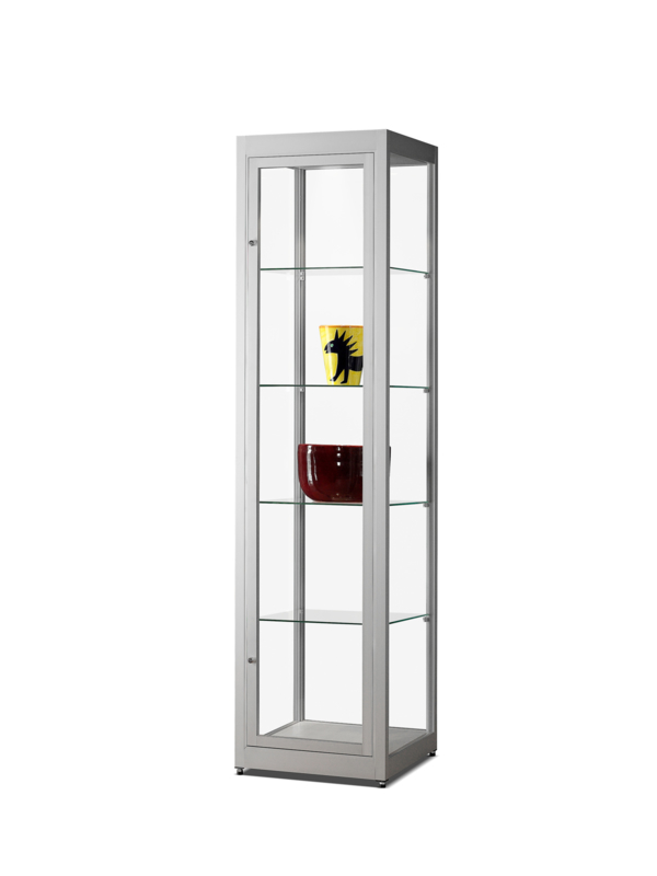 Dustproof display case V8 500 silver with LED toplight
