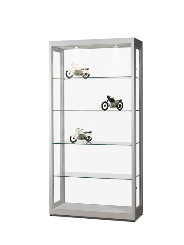 Dustproof display case V8 1000 silver with LED toplights