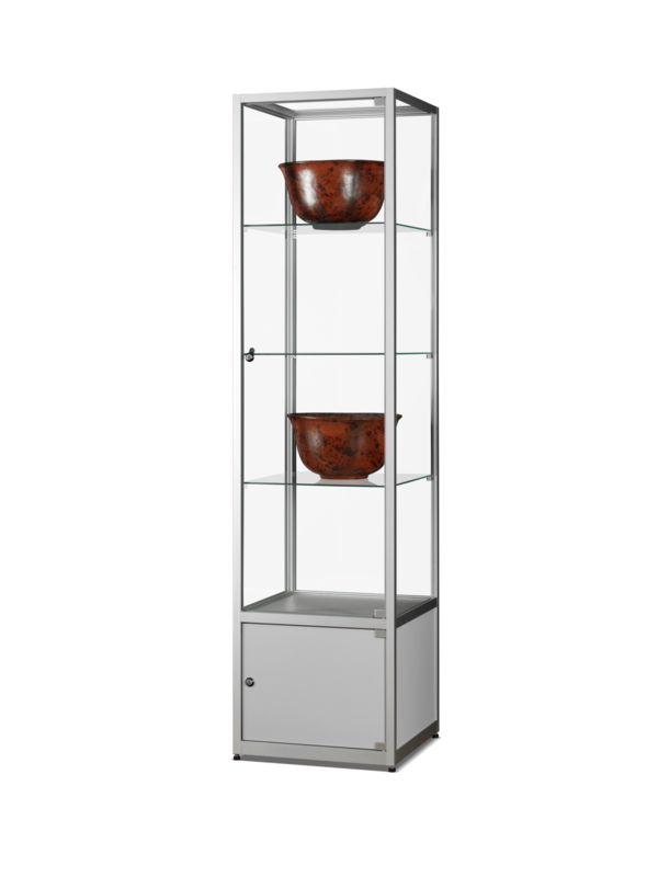 Glass display cabinet WMS 500 silver with storage